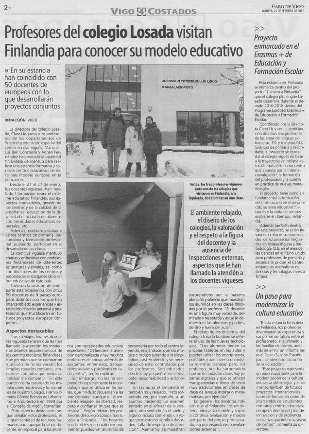 Faro De Vigo: Profesores Del Colegio Losada Visitan Finlandia